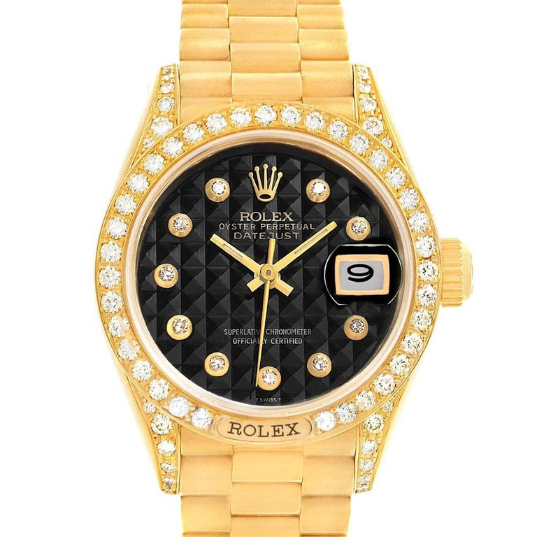 rolex president krone gelbgold schwarzes diamantziffernblatt damenuhr 69158 3