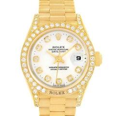 Rolex President Crown Yellow Gold White Diamond Dial Ladies Watch 69158