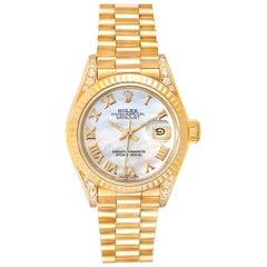 Rolex President Datejust 18 Karat Yellow Gold Diamond Watch 69188