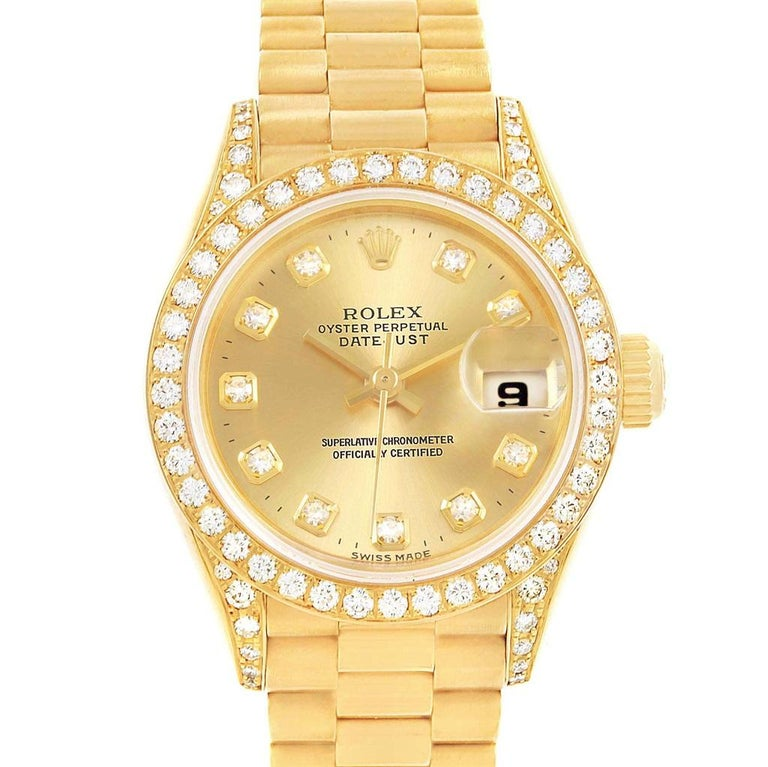 Rolex President Datejust 18 Karat Yellow Gold Diamond Watch 79188