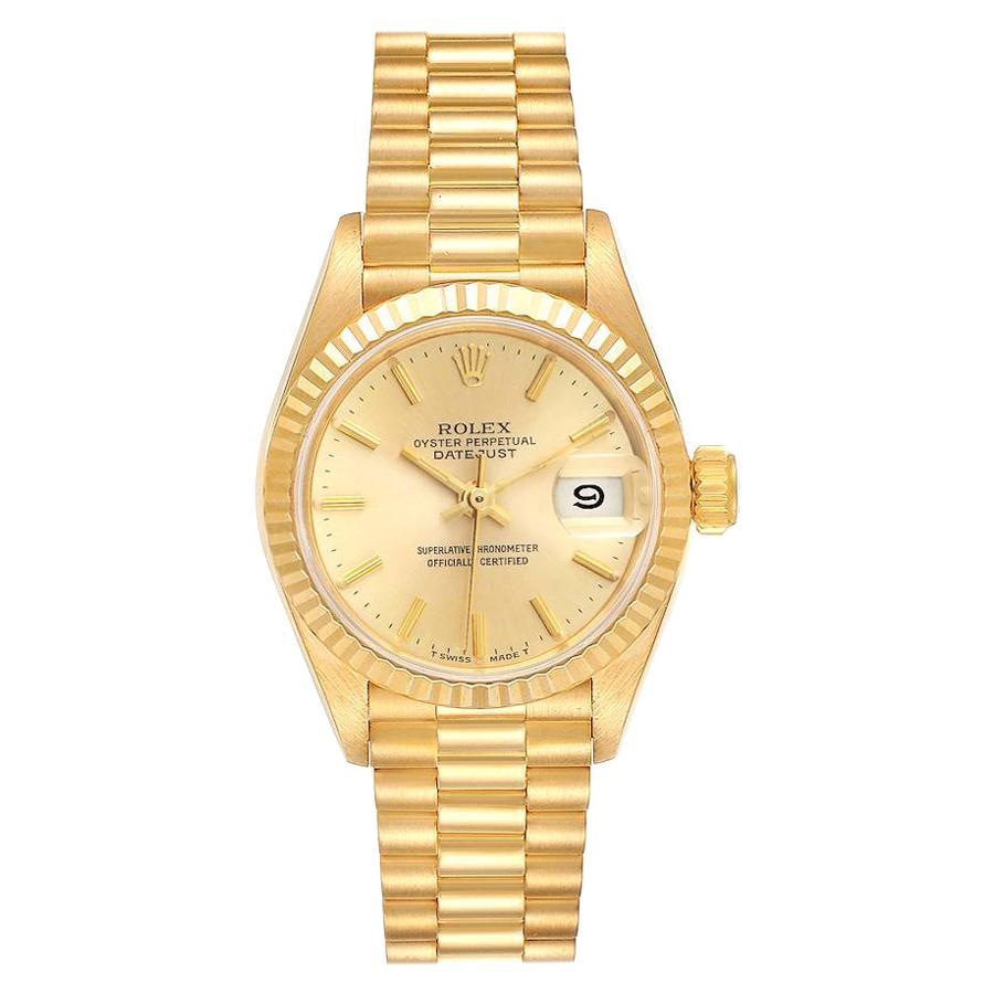 Rolex President Datejust 18 Karat Yellow Gold Ladies Watch 69178