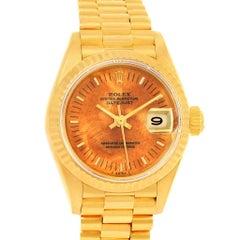 Rolex President Datejust 18 Karat Yellow Gold Wooden Dial Ladies Watch 69178
