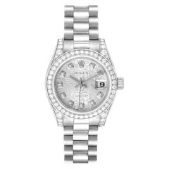 Rolex President Datejust 18k White Gold Diamond Ladies Watch 179159