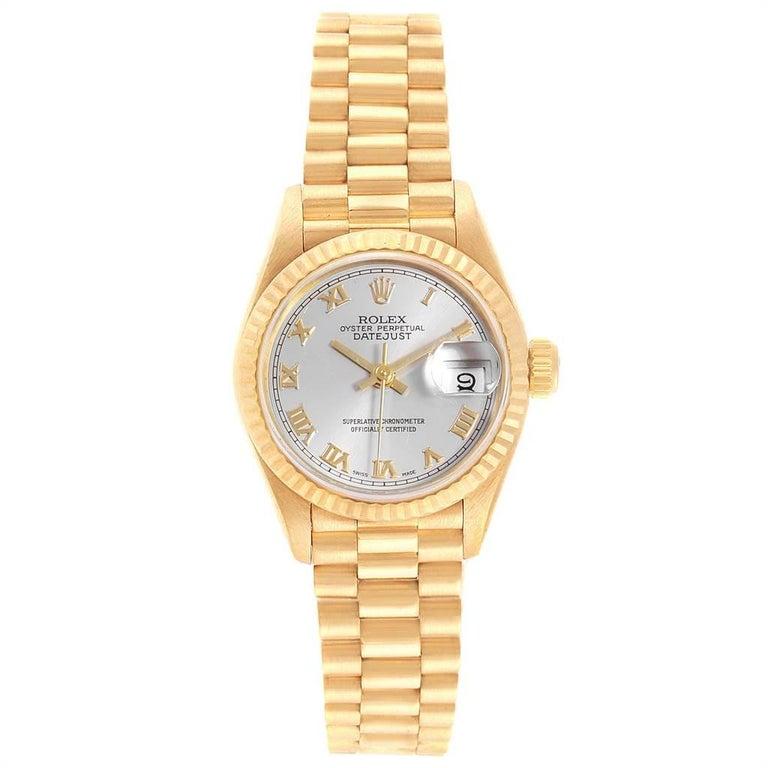 Rolex President Datejust 18 Karat Yellow Gold Ladies Watch 69178 In Good Condition In Atlanta, GA