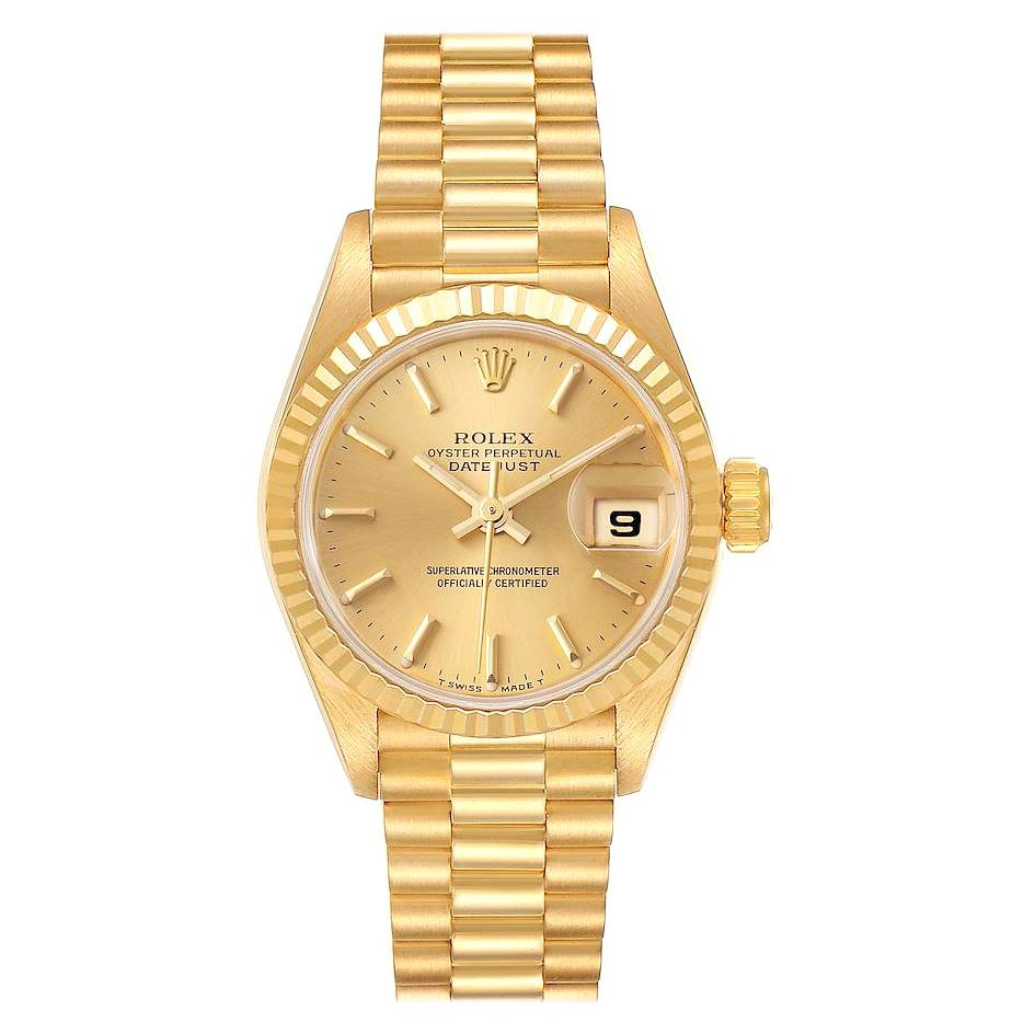 Rolex President Datejust 18K Yellow Gold Champagne Dial Ladies Watch 69178