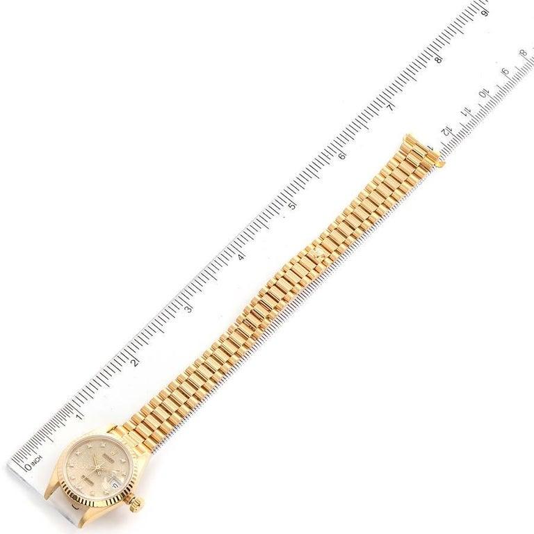 Rolex President Datejust 18K Yellow Gold Diamond Ladies Watch 69178 6