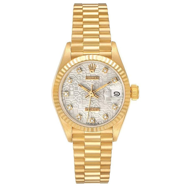 Rolex President Datejust 18K Yellow Gold Diamond Ladies Watch 69178. Officially certified chronometer self-winding movement. 18k yellow gold oyster case 26.0 mm in diameter. Rolex logo on a crown. 18k yellow gold fluted bezel. Scratch resistant