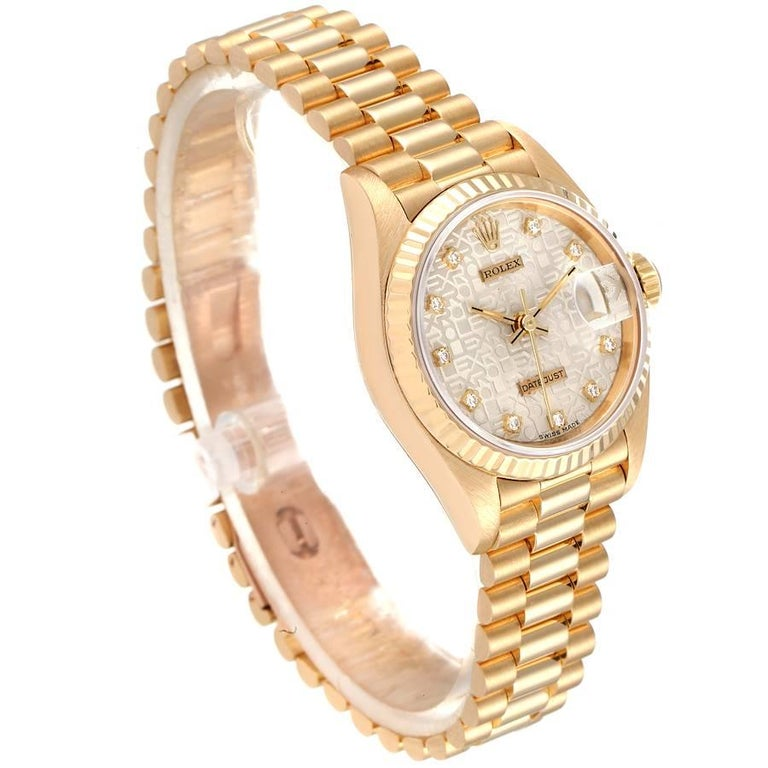 Rolex President Datejust 18K Yellow Gold Diamond Ladies Watch 69178 In Excellent Condition In Atlanta, GA