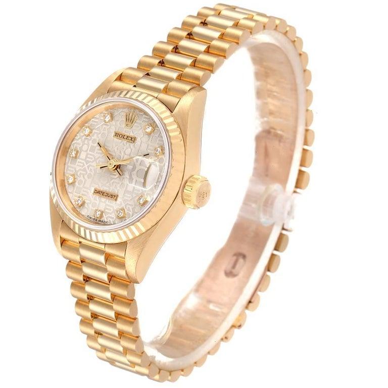 Women's Rolex President Datejust 18K Yellow Gold Diamond Ladies Watch 69178
