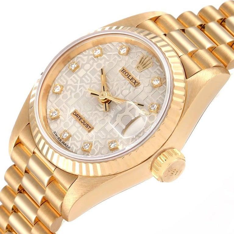 Rolex President Datejust 18K Yellow Gold Diamond Ladies Watch 69178 1