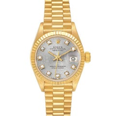Rolex President Datejust 18K Yellow Gold Diamond Ladies Watch 69178