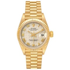 Rolex President Datejust 18k Yellow Gold Pyramid Ladies Watch 69178