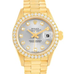 Rolex President Datejust 26 Rhodium Dial Yellow Gold Diamond Watch 69178
