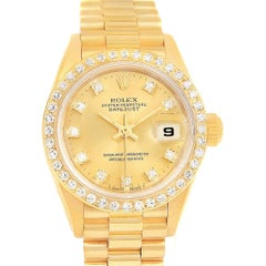 Rolex President Datejust 26 Yellow Gold Diamond Ladies Watch 69138