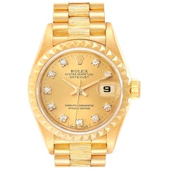 Rolex President Datejust 26 Yellow Gold Diamond Ladies Watch 69278