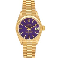Rolex President Datejust 26 Yellow Gold Purple Dial Watch 69178 Box Papers