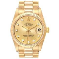 Rolex President Datejust 31 Midsize 18 Karat Gold Diamond Watch 68278