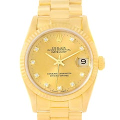 Rolex President Datejust 31 Midsize Gold Diamond Watch 68278