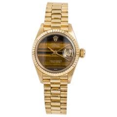 Rolex President Datejust 6917 Womens Automatic Watch Tiger Eye Dial 18k YG