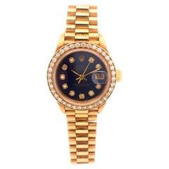 Rolex President DateJust Ladies 18 Karat Gold Diamond Black Dial Jubilee 69178