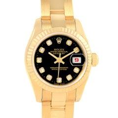 Rolex President Datejust Ladies 18 Karat Yellow Gold Diamond Watch 179178