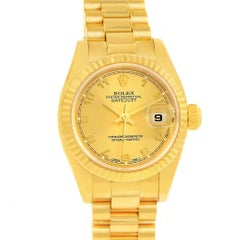 Rolex President Datejust Ladies 18 Karat Yellow Gold Watch 179178