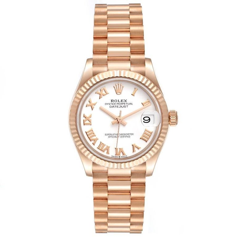 Rolex President Datejust Midsize 31 Rose Gold Ladies Watch 278275 Unworn. Officially certified chronometer self-winding movement. 18K Everose gold case 31.0 mm in diameter. Rolex logo on the crown. 18k rose gold fluted bezel. Scratch resistant