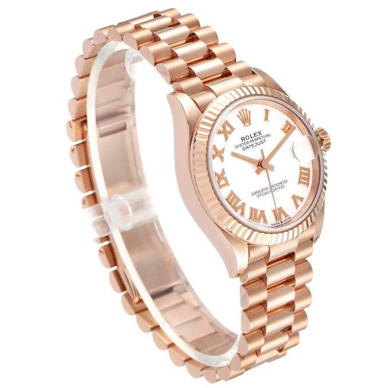 Rolex President Datejust Midsize 31 Rose Gold Ladies Watch 278275 Unworn In Excellent Condition For Sale In Atlanta, GA