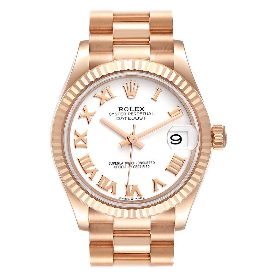 Rolex President Datejust Midsize 31 Rose Gold Ladies Watch 278275 Unworn