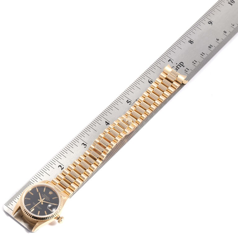 Rolex President Datejust Midsize Black Dial Yellow Gold Ladies Watch 68278 For Sale 6