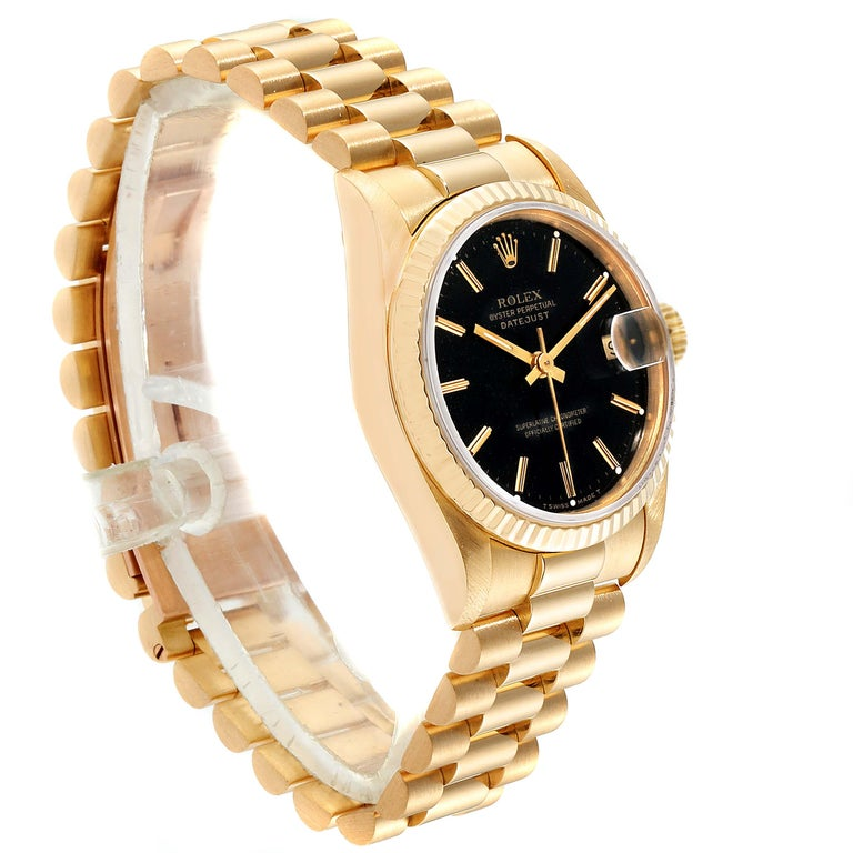 Rolex President Datejust Midsize Black Dial Yellow Gold Ladies Watch 68278 In Excellent Condition For Sale In Atlanta, GA