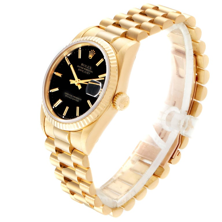 Women's Rolex President Datejust Midsize Black Dial Yellow Gold Ladies Watch 68278 For Sale