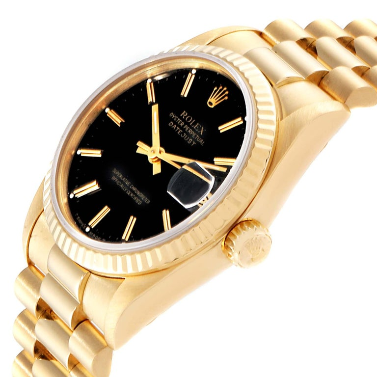 Rolex President Datejust Midsize Black Dial Yellow Gold Ladies Watch 68278 For Sale 1