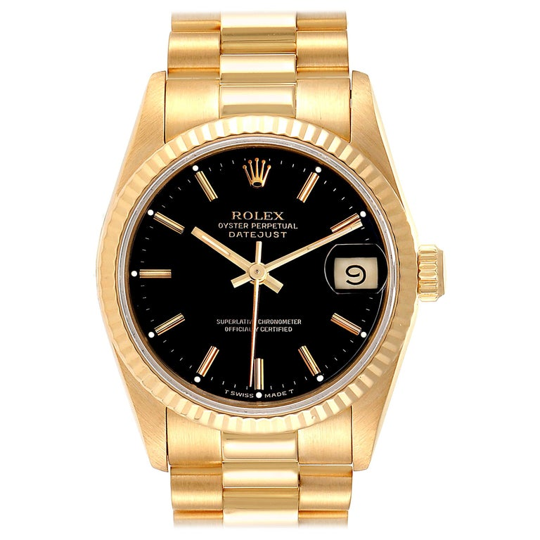 Rolex President Datejust Midsize Black Dial Yellow Gold Ladies Watch 68278 For Sale