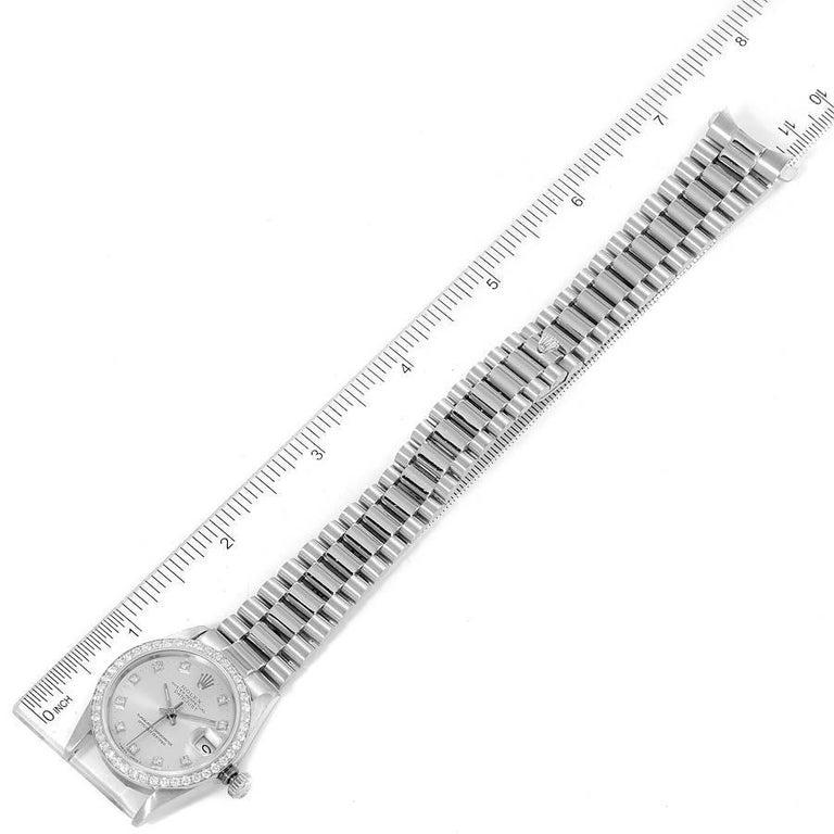 Rolex President Datejust Midsize Platinum Diamond Ladies Watch 68286 For Sale 6
