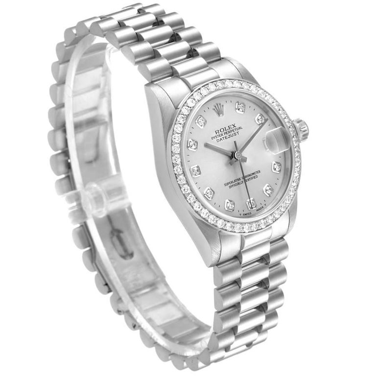 Rolex President Datejust Midsize Platinum Diamond Ladies Watch 68286 In Excellent Condition In Atlanta, GA