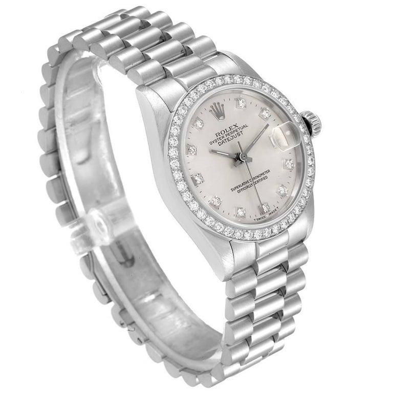 Rolex President Datejust Midsize Platinum Diamond Ladies Watch 68286 In Excellent Condition For Sale In Atlanta, GA