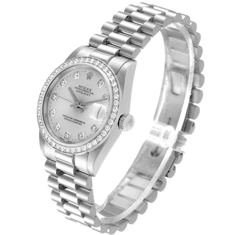 Women's Rolex President Datejust Midsize Platinum Diamond Ladies Watch 68286