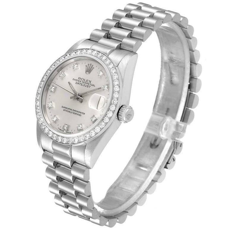 Women's Rolex President Datejust Midsize Platinum Diamond Ladies Watch 68286 For Sale