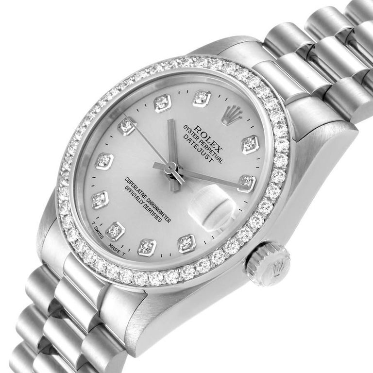 Rolex President Datejust Midsize Platinum Diamond Ladies Watch 68286 1