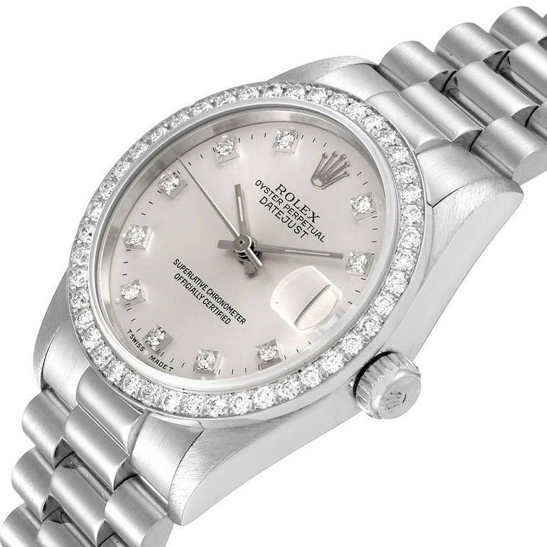 Rolex President Datejust Midsize Platinum Diamond Ladies Watch 68286 For Sale 1