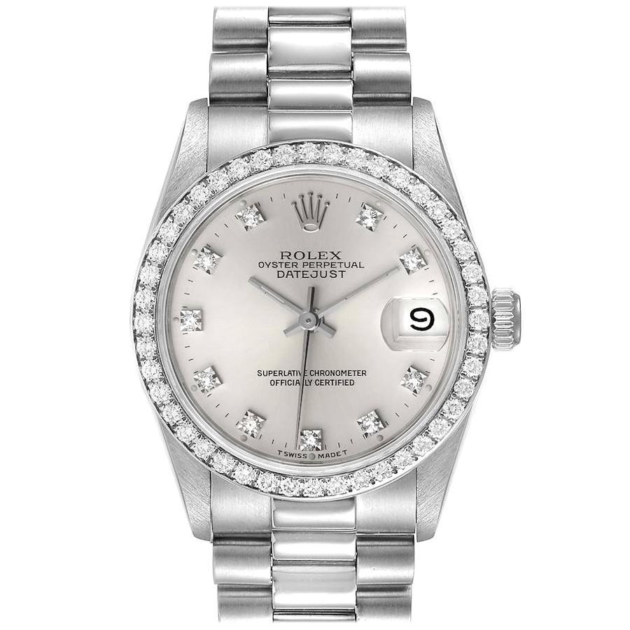 Rolex President Datejust Midsize Platinum Diamond Ladies Watch 68286