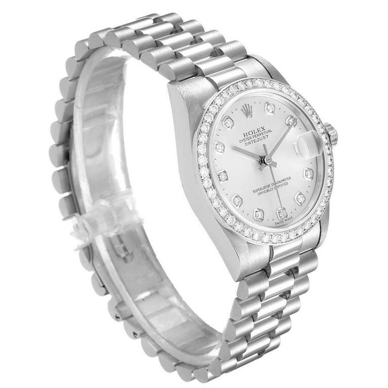 Rolex President Datejust Midsize Platinum Diamond Ladies Watch 78286 In Excellent Condition For Sale In Atlanta, GA