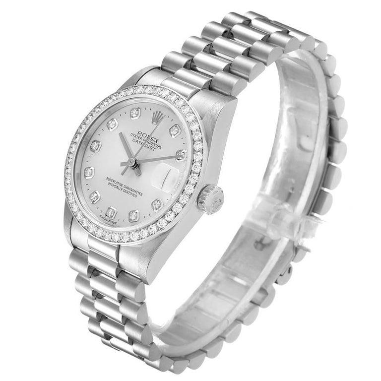Women's Rolex President Datejust Midsize Platinum Diamond Ladies Watch 78286 For Sale