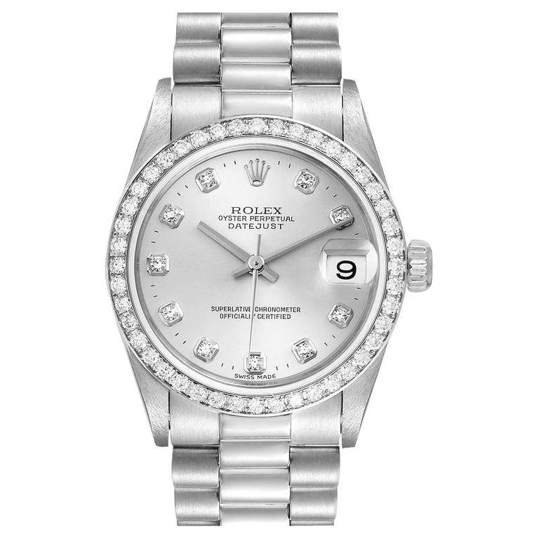 Rolex President Datejust Midsize Platinum Diamond Ladies Watch 78286 For Sale