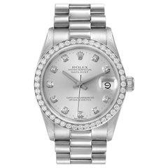 Rolex President Datejust Midsize Platinum Diamond Watch 68286 Box Papers