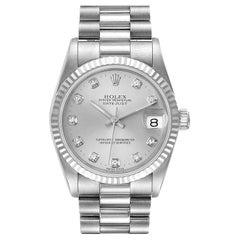 Rolex President Datejust Midsize White Gold Diamond Watch 68279 Box Papers