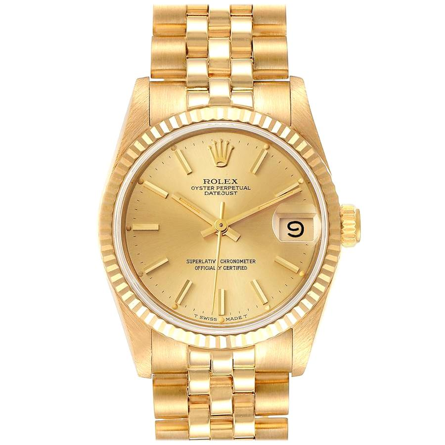 Rolex President Datejust Midsize Yellow Gold Ladies Watch 68278