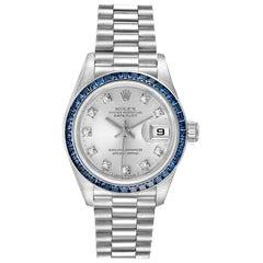Rolex President Datejust White Gold Diamond Sapphire Ladies Watch 69119 Box