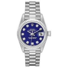 Rolex President Datejust White Gold Lapis Lazuli Diamond Ladies Watch 69179